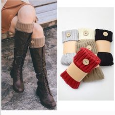 Knit Boot Cuffs Mocha, gray black and Ivory leg Warmer boot cuffs with button detail price is for one pair . Comment for a listing to purchase Vivacouture Accessories Hosiery & Socks