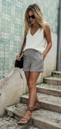 how+to+style+a+white+v-neck+top+:+sandals+++bag+++striped+shorts