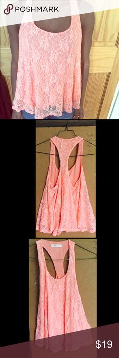 Forever 21 orange lace tank This flower lace top is perfect summer and spring. It's a size small and in good condition. It would look super cute with a dark bottom like jeans or shorts! Forever 21 Tops Tank Tops