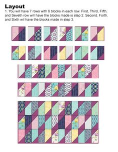 """Here is another easy quilt pattern that uses a Layer Cake and Charm packs to form this diamond at a angle. Finished Size is 54"""" x ..."""