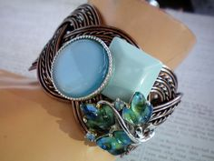 Chunky blue jeweled cuff bracelet Recycled by OutsiderArtJewelry