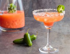 This cocktail pairs tequila with jalapeño infused agave nectar and lime for the perfect blend of fire and ice. Jalapeno Margarita, Margarita Recipes, Cocktail Recipes, Guava Juice, Juice 3, Drink Recipes, Prickly Pear Juice, Gourmet, Cocktails