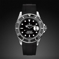 Submariner Rolex Tang Buckle Watch With Rubber B Vulcanized Watch Band