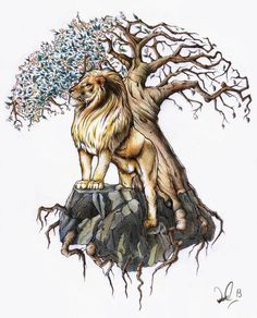 Brilliant Lion And Tree Of Life Tattoo Design