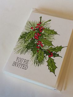 Christmas Party Invitations Unused NOS Set 12 HALLMARK Christmas Card Invitations Mid-Century Holiday Invitations Vintage Christmas Ephemera Christmas Cards Drawing, Painted Christmas Cards, Watercolor Christmas Cards, Merry Christmas Card, Hallmark Christmas, Watercolor Cards, Xmas Cards, Christmas Art, Vintage Christmas