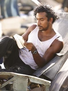 Naveen Andrews on the set of LOST