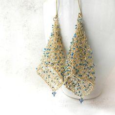 Gold wire crochet earrings on Etsy Wire Earrings, Crochet Earrings, Sea Glass Jewelry, Gold Jewelry, Wire Crochet, Crochet Wire Jewelry, Knitted Jewelry, Textile Jewelry, Thread Jewellery