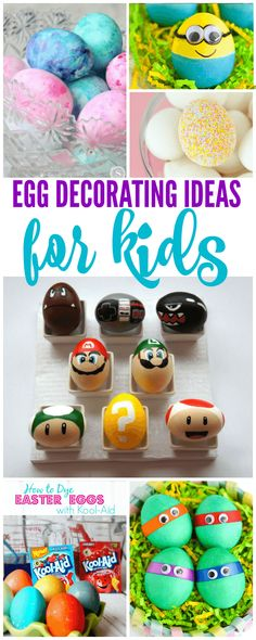 Egg Decorating Ideas for KIDS! Fun, easy, and creative ways to let your kids dye Easter Eggs this year! Create memories for a lifetime with these crafts and activities!