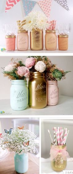 Baby Shower Centerpieces – Standout With Creative Baby Shower Decorations Shower Party, Baby Shower Parties, Baby Shower Themes, Shower Ideas, Bridal Shower, Gold Mason Jars, Mason Jar Diy, Sweet 16 Decorations, Birthday Decorations