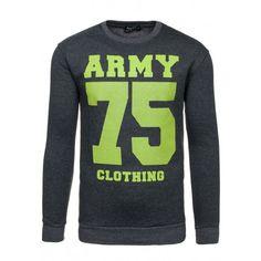 Tmavosivá mikina pre pánov so zeleným nápisom ARMY 75 - fashionday.eu