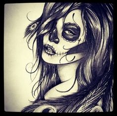 Day of the Dead  pin up art | Tattoo Flash Art Print Day of the dead girl Woman…