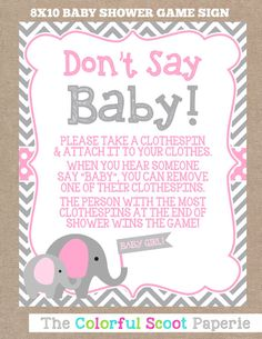 INSTANT DOWNLOAD Elephant Baby Shower Don't by TheColorfulScoot