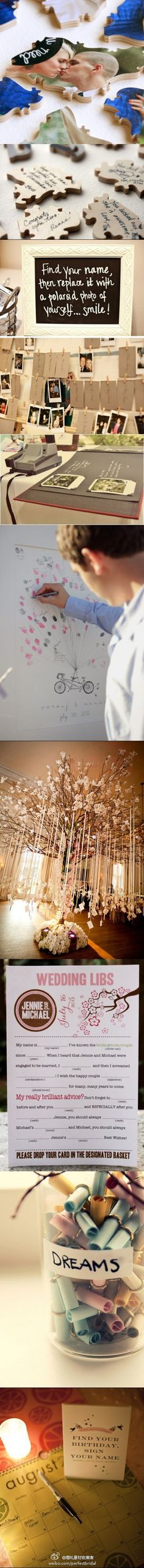 wedding sign-in ideas. pretty clever stuff.