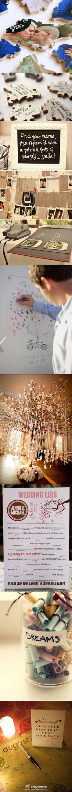 wedding sign-in ideas. pretty clever stuff. Really like the calendar idea
