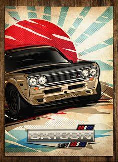 JAPAN VINTAGE CAR POSTER by Brokenfuse.Style, via Behance