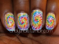 """Groovy tie-dye nails"" was the description. My first thought was ""oooh, impressionist nails!!!"""