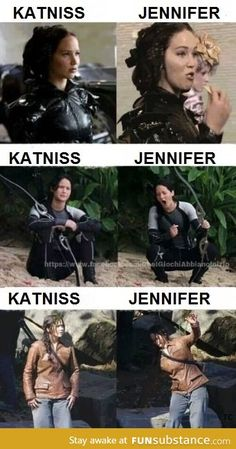 Funny pictures about The difference between Jennifer Lawrence and Katniss. Oh, and cool pics about The difference between Jennifer Lawrence and Katniss. Also, The difference between Jennifer Lawrence and Katniss. Hunger Games Memes, The Hunger Games, Hunger Games Fandom, Hunger Games Catching Fire, Hunger Games Trilogy, Catching Fire Funny, Hunger Games Outfits, Catching Fire Quotes, Hunger Games Costume