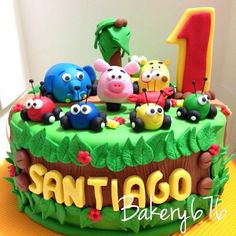 Pastel jungla sobre ruedas / jungle junction cake  Bakery 676