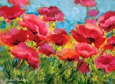 Rembrandt+Poppies+|+SOLD+~+Sun+and+Sky+Poppies+by+Texas+Flower+Artist+Nancy+Medina