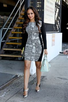 Tia-Mowry in Asos' Houndstooth Panel Bodycon Dress & silver Louboutin Pensee Mary Jane Flower Pumps