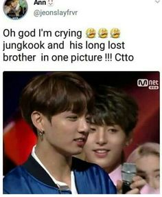 Lol Jungkook with Y from Golden Child. Y is actually older and the same age as Jimin