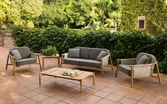 Hampshire Teak Patio Furniture Collection | Plantation teak frame | Beige, black or brown sling colors | 100's of Sunbrella cushions