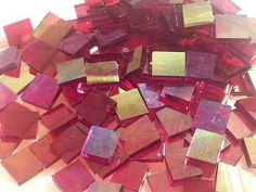 Cherry Red Iridescent System 96 Fusible Glass from Mosaic Tile Mania - Beautiful!!