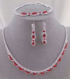 Red With Crystal Rhinestone Necklace Bracelet Earring Set Fashion Jewelry NEW #ChristinaCollection