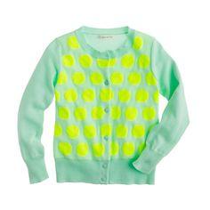 Girls' Caroline cardigan in neon dot