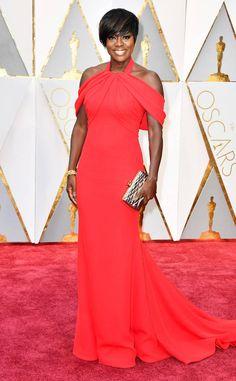 Viola Davis Red Dress Oscars 2017