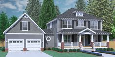 House Plan The DUNCAN A elevation - Classical Two-Story Craftsman design with 3 bedrooms and 2 baths upstairs. Large, open living space with formal Dining and Study. Large Laundry Room with hal Square House Plans, Two Story House Plans, Best House Plans, House Floor Plans, Two Story Homes, Br House, House With Porch, Hill House, Cottage House
