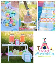Glamping Themed Birthday Party via Kara's Party Ideas KarasPartyIdeas.com Printables, tutorials, cake, banners, desserts, games, favors and more! #glamping #glampingparty #girlycampingparty #glampingcake #campingparty