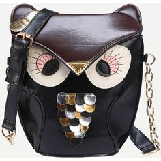 Faux Leather Owl Shoulder Bag - Black ($11) ❤ liked on Polyvore featuring bags, handbags, shoulder bags, shein, black, vegan shoulder bag, vegan handbags, owl purse, faux leather purses and synthetic leather handbag
