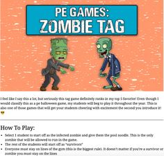 Elementary PE games for grades – PE games Zombie Tag – Physed instant activity for grades – Physical education games - Fun pe games Physical Education Activities, Elementary Physical Education, Pe Activities, Movement Activities, Health Education, Kids Gym Games, Team Games For Kids, Educational Games For Kids, Pe Games Elementary