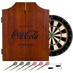 Trademark Gameroom Coca Cola Collectible Vintage en Dart Board Cabinet