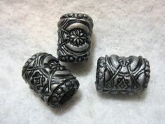 Dread Beads Silver Metallic Embossed Dreadlock  Beads  Set of 3   You Choose Hole Size. $14.00, via Etsy.