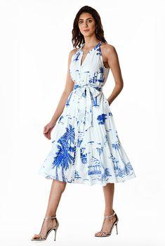 Landscape print cotton voile ruched tier dress #eShakti