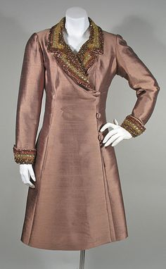 Hong Kong Made 1960s Copper Coat Dress with Beaded Collar and Cuffs