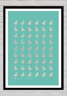 The Lucky Rabbits print is a tasteful design and is ideal for nurseries, hallways and other areas of the home.