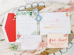 Custom wedding invitation design for a styled photo shoot at The Bloom Workshop, featuring hand-painted watercolor floral design, watercolor calligraphy guest addressing, and a custom map. Photo by Ashley Slater Photography. Photographed with The Mrs. Ring Box. Peach and red wedding colors.