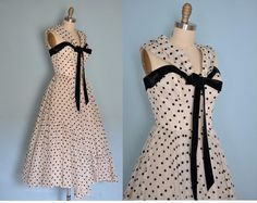 vintage 1940s black and white polka dot party prom dress picture ...