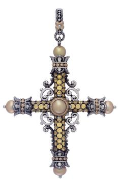 Amazing Grace Cross – Yellow Sapphire & Olive Pearls – Barbara Bixby