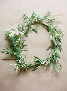 olive flower crown with queen annes lace - Google Search