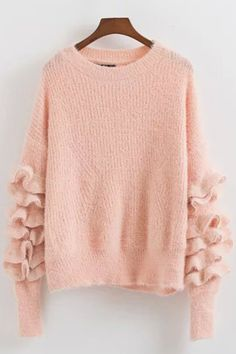 Solid Color Round Neck Ruffle Sleeve Knit Sweater