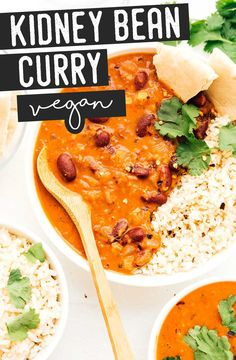 Kidney Bean Curry, Beans Curry, Vegetarian Main Dishes, Vegetarian Recipes Dinner, Vegetarian Food, Lunch Recipes, Dinner Recipes, Coconut Recipes, Healthy Recipes