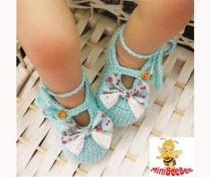 High Quality Handmade Blue Crocheted Baby Shoes with Bow for Newborn Baby as Shower day gift(LS2). $8.99, via Etsy.