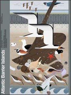 Charley Harper: Atlantic Barrier Islands - National Park poster