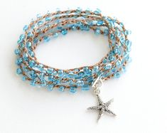 Starfish Crochet Wrap Bracelet Rosary Beaded by laromantica