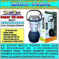 LAMPARA SUPERLUMINICA 36 LEDS, SOLAR, USB, DINAMO, CARGA ALGUNOS DISPOSITIVOS DIGTS. VALOR $89.990  CONTACTO CEL y WATSAPP 3006392167- o 3174489307 Bogota D.C. PARA COMPRAR DE CLICK AQUI: http://goo.gl/u4IdIT  ENVIO GRATIS A TODA COLOMBIA - PAGOS POR PSE - O TARJETAS DE CREDITO - TAMBIEN EN EFECTIVO POR VIA BALOTO O BANCOLOMBIA - Esta lampara te permitira de disponer de luz durante horas y sin preocupaciones. 1. Recargable con energia electrica, usb del pc, encendedor del carro, baterias…