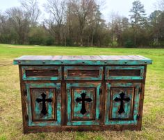 Handmade Tres Cruces Rustic Turquoise Three Drawer Three Door Buffett www.gugonline.com